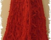 SALE - LAST SEASON Stock - Hand Knit Scarf - Bright Red Wool Blend Cabled with Ribbons