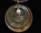 customized triathlon swim bike run handstamped necklace