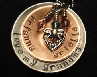 Customized Handstamped Mixed Metal Family, Mother and Children Birthstone Necklaces