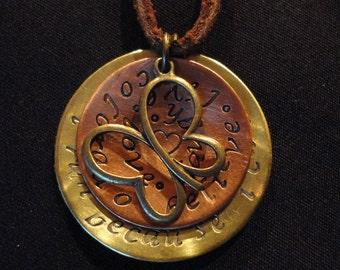 Triathlon Marathon Cycling Swim Bike Run Handstamped Hammered Mixed Metals Copper Brass Aluminum Necklaces