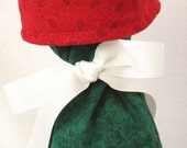 Wine Gift Bag - Green Poinsettia and Red Holly OOAK