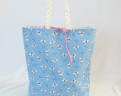 Fabric Gift Bag with Handles Large - Lambs on Baby Blue with Pink Polka Dots