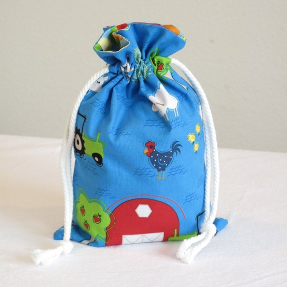 Small Fabric Drawstring Gift Bag - Farm Friends by Jamie Wood for Clothworks