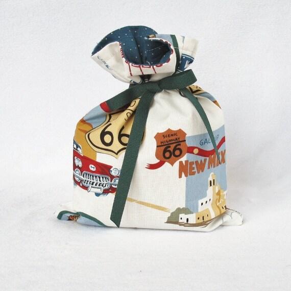 Fabric Gift Bag Itty Bitty - Road Trip