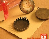 10 PCS  Antiqued  Bronze Color Metal Pendant Base Finding with 25mm Round Pad Cameo Setting 1247A