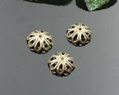 50pcs 14mm Antiqued Bronze Color Flower Shape Bead Caps