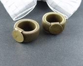6pcs  Antiqued Bronze Color Metal Adjustable Tension Spring Ring Base  with 12mm  Pad Cameoo Setting