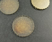 50 pcs Antiqued Bronze  Color Lace Edge Metal Cameo Base  with 30mm Pad Cameo Setting