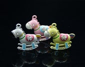 3pcs 40x42mm Colorful Plated with Germstones  Horse Charm Pendant