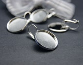 20pcs(10pairs)  Silver Color French Earrings Hooks with 16mm Cameo Settings