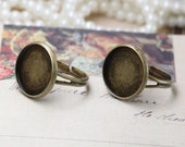 10pcs  Antiqued Bronze Color Metal Adjustable Ring Base  with 12mm Pad Cameo Setting