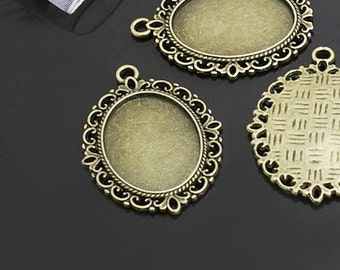 6 pcs  Antiqued Bronze Color Metal Pendant Base Finding with 25x18mm Oval Setting