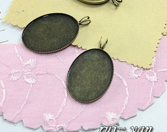 30pcs  Antiqued Bronze Color Metal Pendant Base Finding with 18x25mm Pad Cameo Setting 1032A