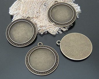 8pcs Antiqued  Bronze Color Metal Pendant Base Finding with 30mm Round Pad Cameo Setting 20711