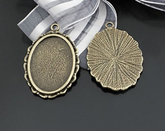 6pcs  Antiqued Bronze Color Metal Pendant Base Finding with 18x25mm Pad Cameo Setting 23276