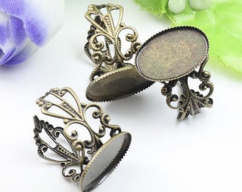 10pcs   Antiqued Bronze Color Metal Adjustable Ring Base  with 18x25mm Pad Cameo Setting 05137