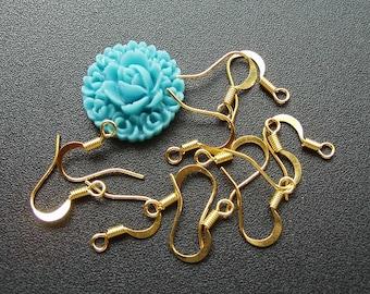 100pcs 10x19mm Gold Color Plated Earrings Hooks