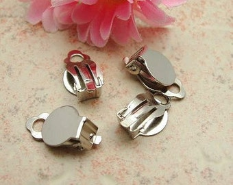 10pcs (5 pairs) Silver Color Plated Clip On Earring With 10mm Pad