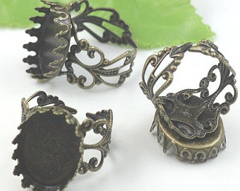 8 PCS  Antiqued Bronze Color Metal Adjustable Ring Base  with 13x18mm Pad Cameo Setting 05311