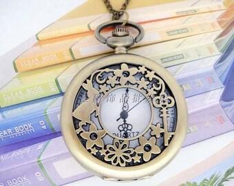2pcs 47mm  Antiqued Bronze Color  Pocket Watch Charm Pendant Rabbits