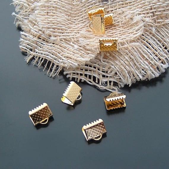 80pcs 10mm Gold Plated Color Ribbon Pinch Crimps Cord End