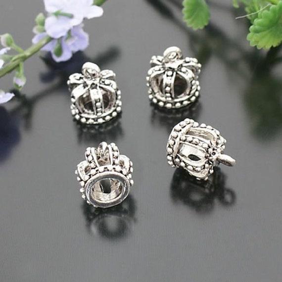 5pcs 13x12mm Antiqued Silver Color  Crown Charm Pendant