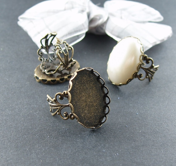 8pcs  Antiqued Bronze Color Metal Adjustable Ring Base  with 18x25mm Lace Edge Pad Cameo Setting