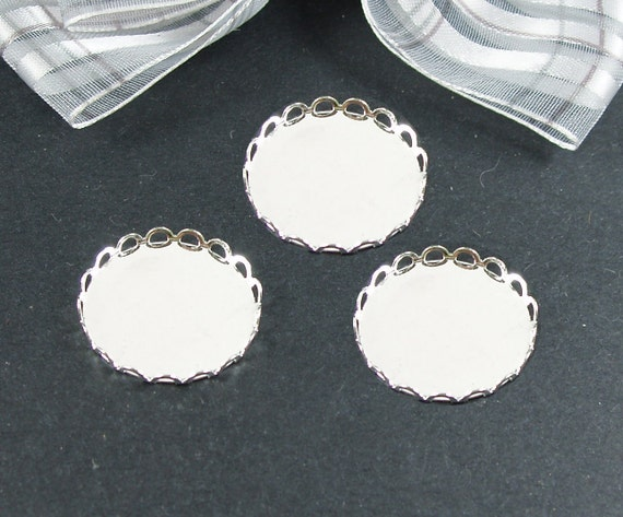 20 pcs  Silver Color Lace Edge Metal Cameo Base  with 12mm Pad Cameo Setting