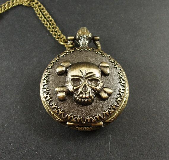 2pcs 40mm Antiqued Bronze Color Black  Skull  Pocket Watch Charm Pendant