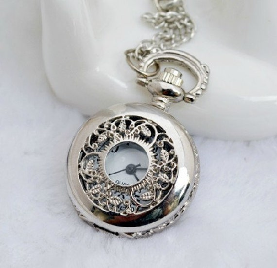 2pcs 26mm  Silver Color  Pocket Quartz  Watches Charm Pendant