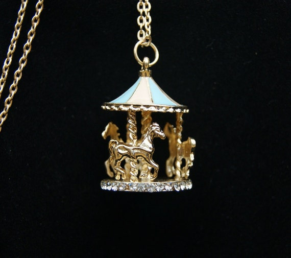 1pcs 35x25mm Colorufl  Plated with Germstones Merry Go Around  Charm Pendant