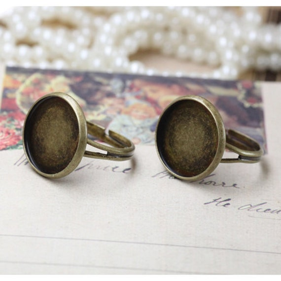10pcs  Antiqued Bronze Color Metal Adjustable Ring Base  with 18mm Pad Cameo Setting