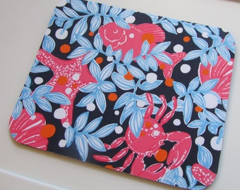 Mouse Pad made with Lilly Pulitzer Fabric True Navy Crabby