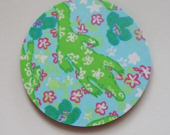 Fabric Coasters Hibiscus Turquiose Alberta Gator Fabric