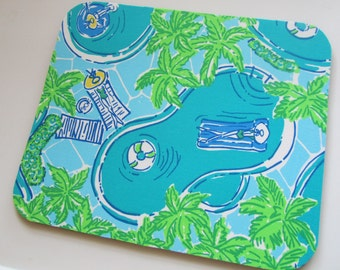Mouse Pad made with Lilly  Signature fabric Pool Party