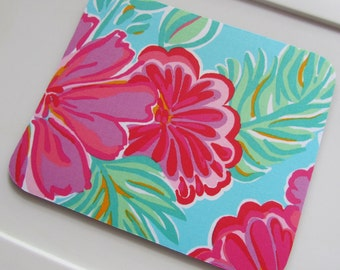 Mouse Pad made with Lilly Pulitzer Signature fabric Shorely Blue Belina