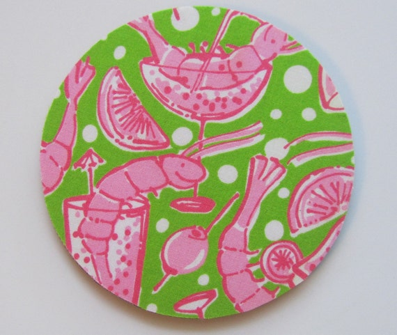 Coasters made with Lilly  Fabric Shrimp Cocktail