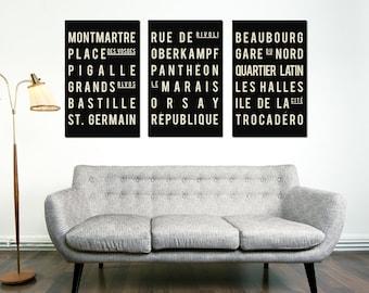 Subway Art - Paris - Typography Print - Modern Art Poster - Set of 3