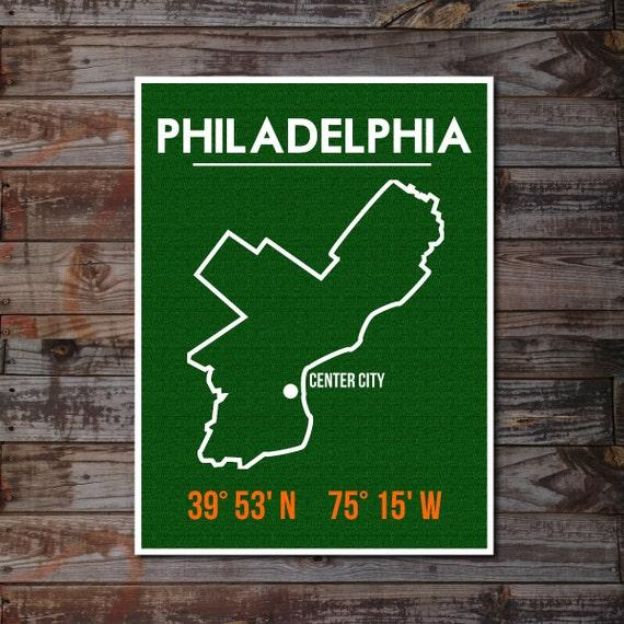Philadelphia Art Poster, City Map, Latitude Longitude, Typographic Print, Minimalist Art, Fresh Trend, Size 18x24