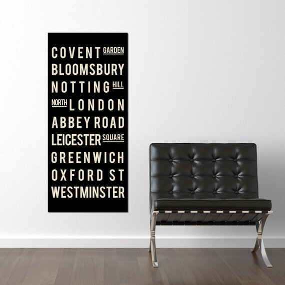 London England Canvas - Subway Sign Art Print - Typography Print