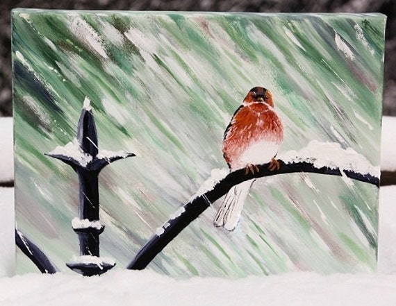 SNOW BIRD original painting   - signed by the artist