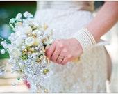 Bubbly Bridal Handmade Button Bouquet, Wedding