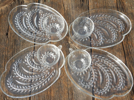 Sale...Glass Luncheon Set, plates, cups