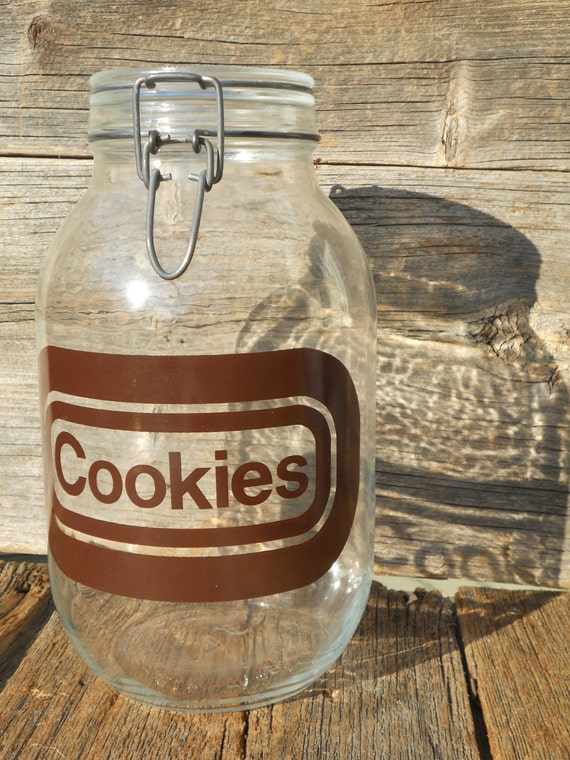 Cookie Jar, Typography Brown Letter, Glass Mason Jar
