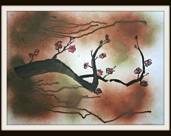 Japanese Cherry Blossoms - Original Watercolor and ink painting 18x24