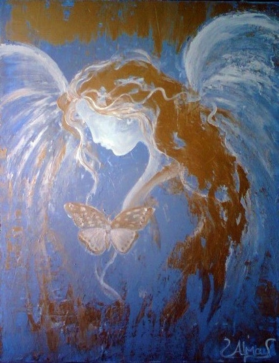 Guardian Angel Original Angel Painting by by ...