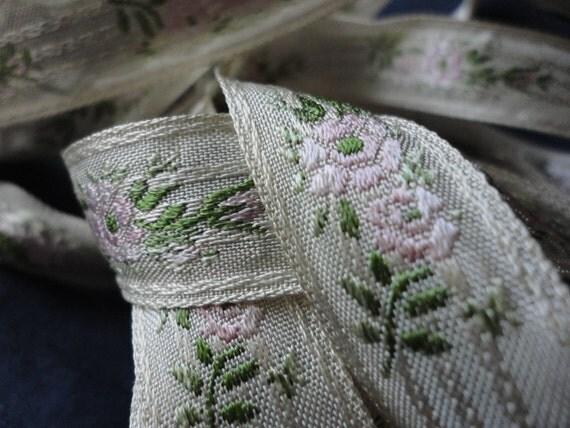 Vintage Jacquard Woven Trim Ribbon Made in Japan