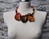 Felted flower necklace - flowers and felted beads