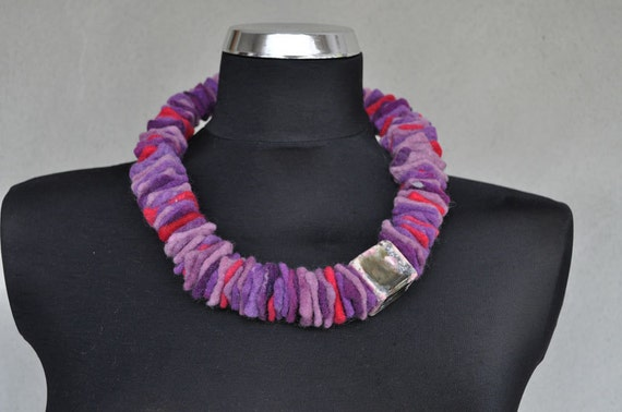 SALE 50% OFF - felted necklace with ceramic beads