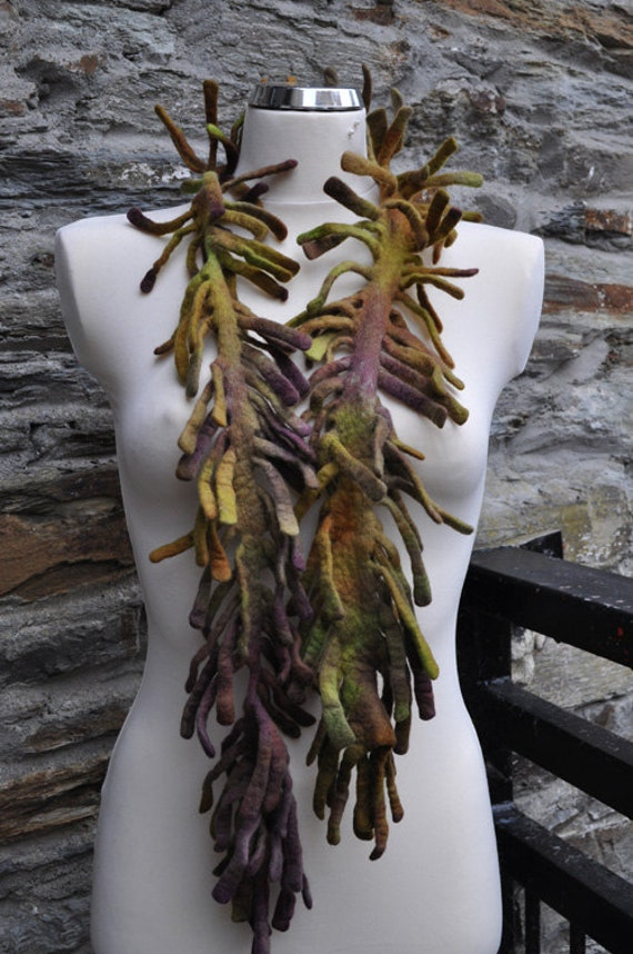 RESERVED  - Felted necklace - Inspired by the look of vines